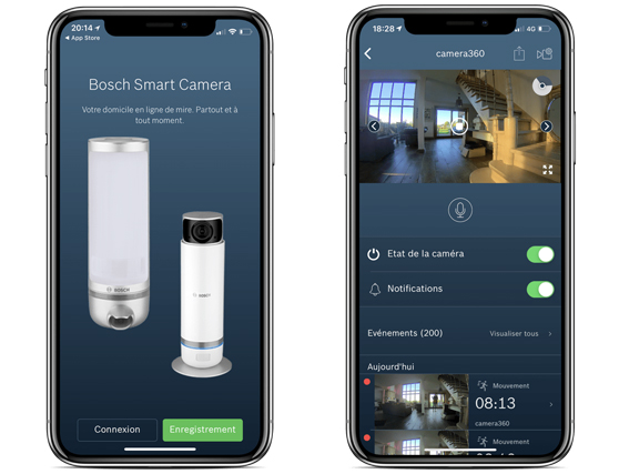 application pour controler la camera de surveillance bosch 360 a partir d'un mobile ou d'une tablette
