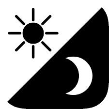 icone avec des signes montrant le jour et la nuit pour illustrer la vision nocturne