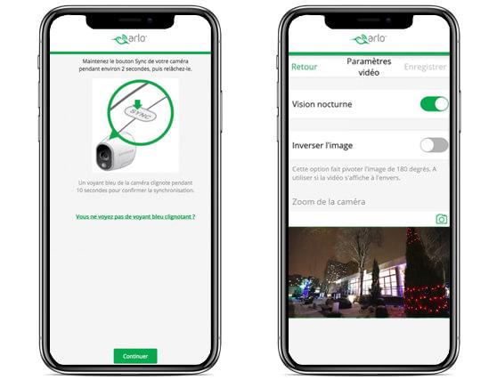 image d'illustration montrant l'interface logicielle de la caméra de surveillance arlo pro 2 sur l'écran d'un smartphone